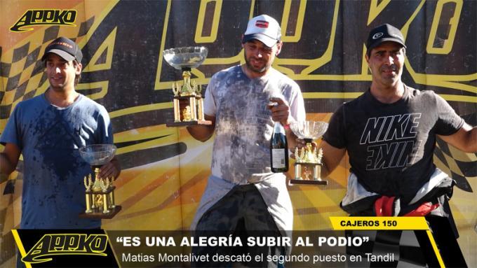 Montalivet, Villanueva y Salvador, los integrantes del podio de Cajeros 150cc. durante la tercera carrera en Tandil.