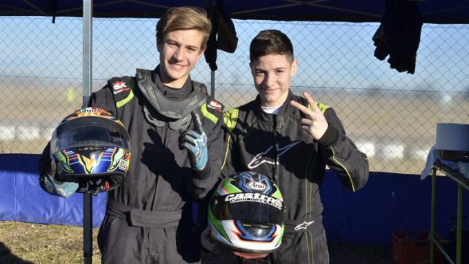 Francisco Ochoa y Alejandro Cabrera, el 1-2 de la clasificación de Junior 150cc. / Fotos Bandera a Cuadros